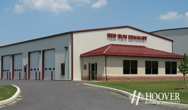 Red Run Exhaust Metal Building