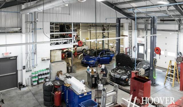 auto garage with concrete floors
