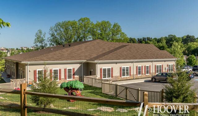 new community center with asphalt shingle roof