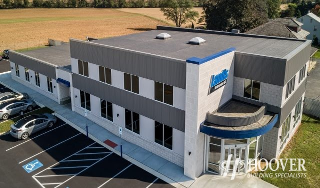 aerial view of two story commercial building