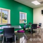 office break room with green painted wall