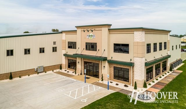 aerial view of newly constructed office space