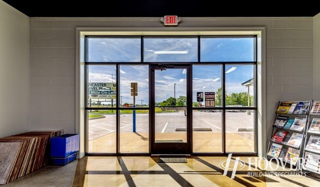 view of front door looking out from inside office space