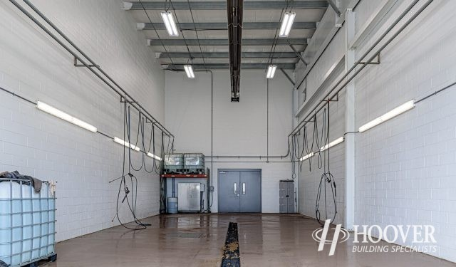 view of completed storage space in warehouse