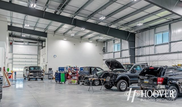 interior shot of newly renovated body shop garage