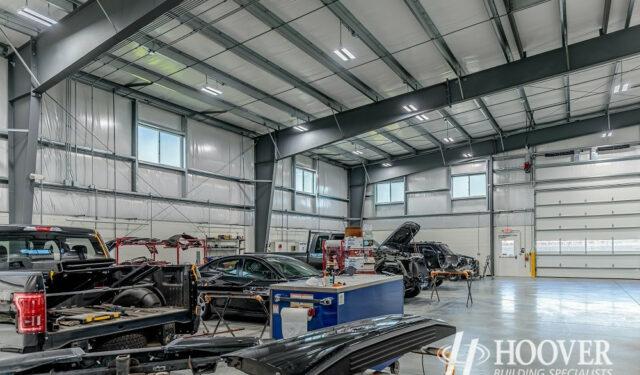 interior shot of body shop garage with steel beams