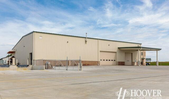new tan metal warehouse